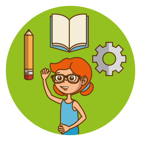 Girl with education icons vector illustration design Stock Vector - 97891610