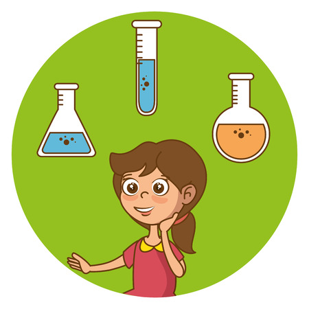 Girl with education icons vector illustration design Stock Vector - 97891604