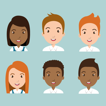 Group of students characters vector illustration design Illustration