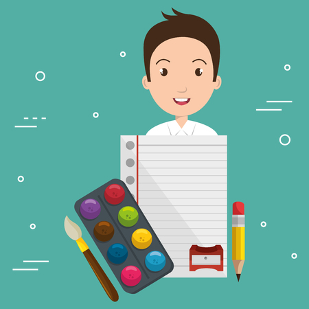 Boy with school supplies vector illustration design Stock fotó - 97891607
