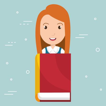 学校のテキストブックベクトルイラストデザインを持つ女の子  イラスト・ベクター素材