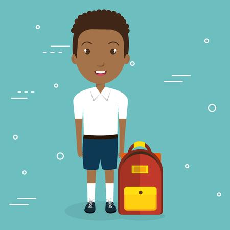 スクールバッグベクターイラストデザインのアフリカの少年