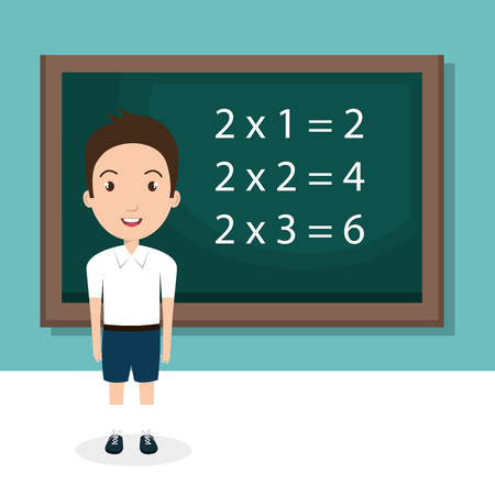 boy with chalkboard classroom character vector illustration design