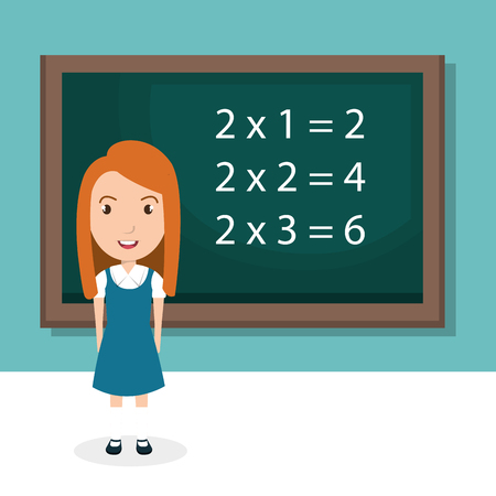 Girl with chalkboard classroom character vector illustration design Illustration