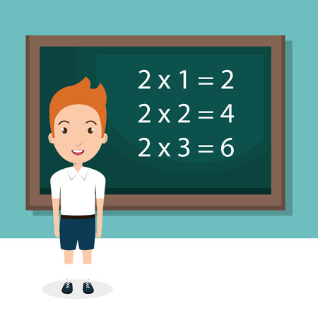 Boy with chalkboard classroom character vector illustration design Illustration