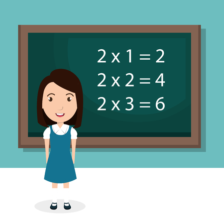 黒板教室キャラクターベクトルイラストデザインの女の子  イラスト・ベクター素材