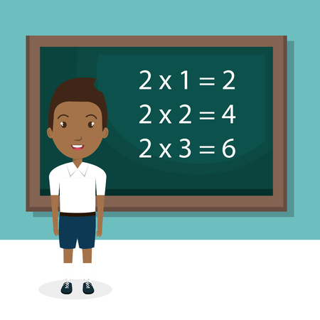 african boy with chalkboard classroom character vector illustration design Illusztráció
