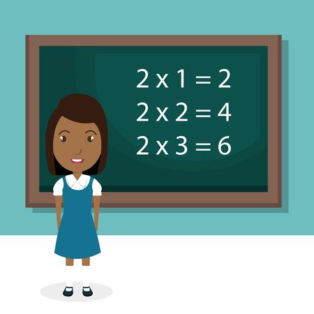 黒板教室のキャラクターベクトルイラストデザインを持つアフリカの女の子