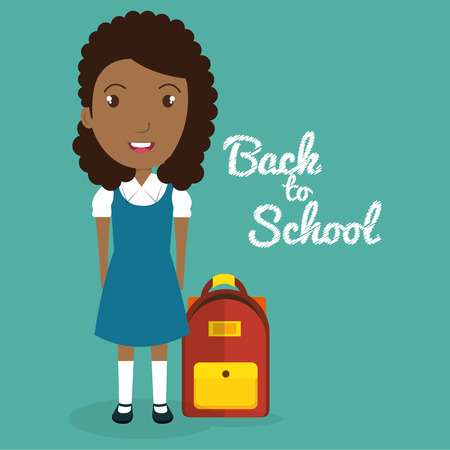 African girl with school bag vector illustration design