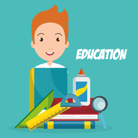 Boy with school supplies vector illustration design