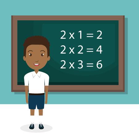 黒板教室のキャラクターベクトルイラストデザインを持つアフリカの少年