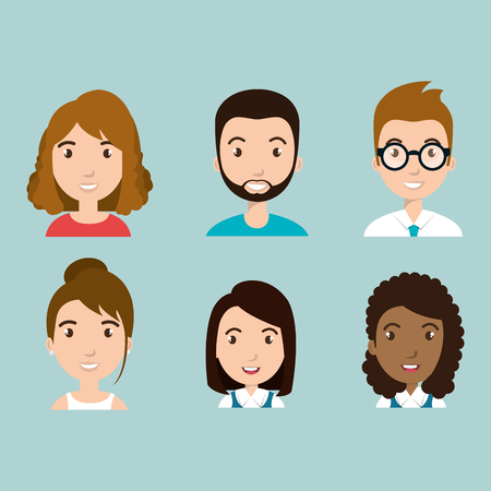 group of school characters vector illustration design