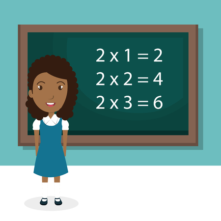african girl with chalkboard classroom character vector illustration design