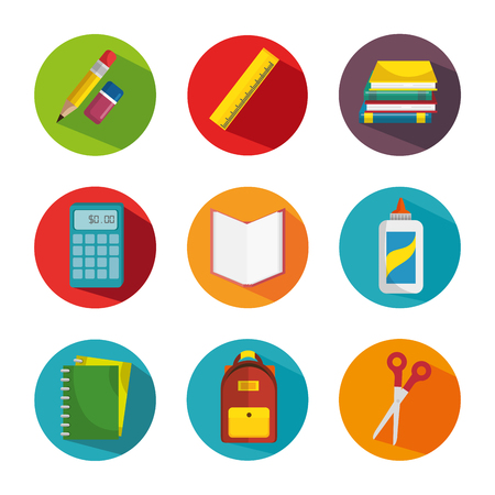 school supplies education icons vector illustration design Иллюстрация
