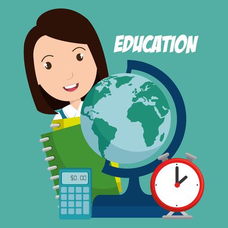 Girl with school supplies like globe calculator and clock vector illustration design Illustration