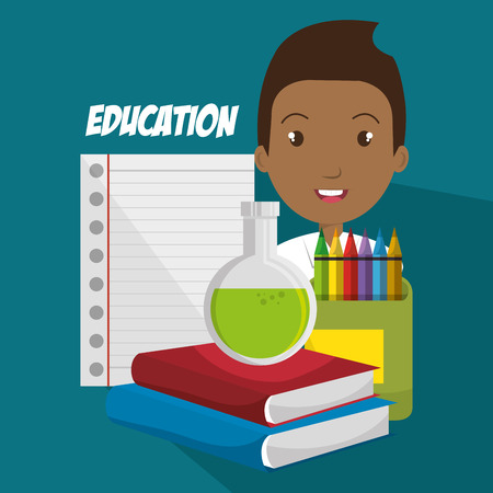 African boy with school supplies  like books, pencil and pad vector illustration design Illustration