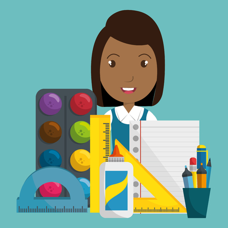 African girl with school supplies like ruler vector illustration design