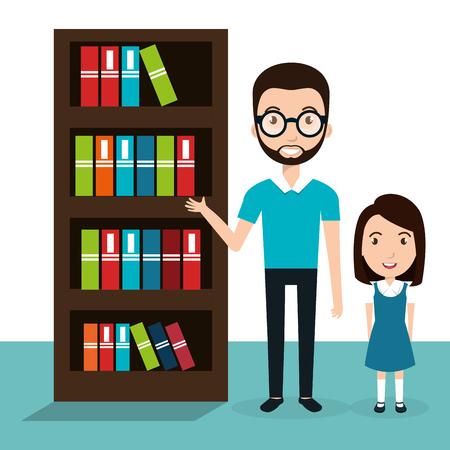 Mädchen mit Lehrer im Bibliotheksvektor-Illustrationsdesign