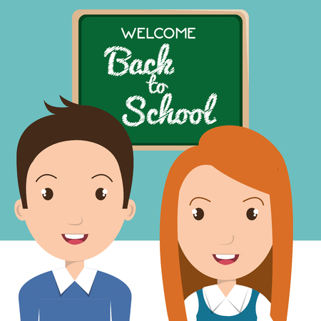 Students with chalkboard classroom character vector illustration design