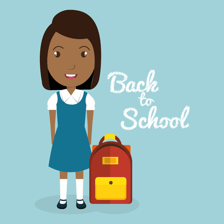 African girl with school bag vector illustration design
