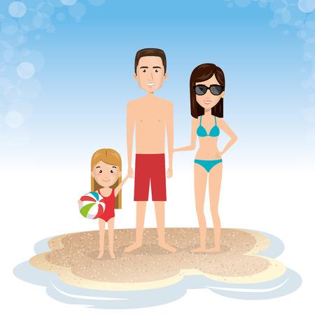 family in the beach summer vacations vector illustration design Foto de archivo - 97895077