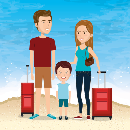 family in the beach summer vacations vector illustration design Foto de archivo - 97895078