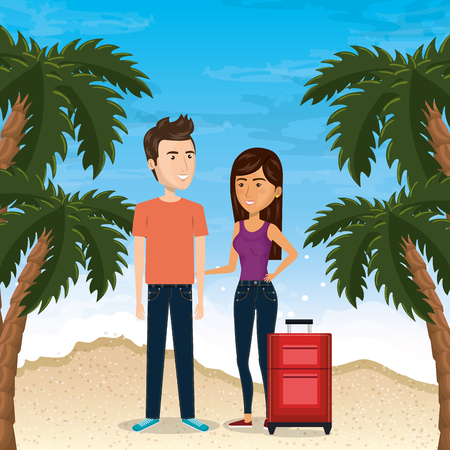 couple in the beach summer vacations vector illustration design Foto de archivo - 97895079