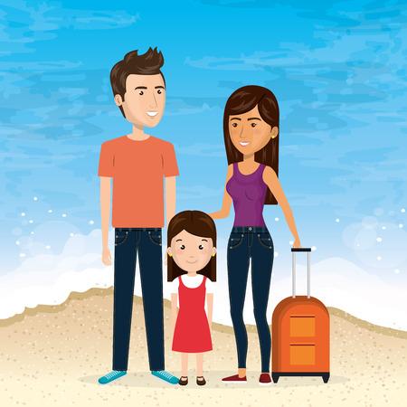 family in the beach summer vacations vector illustration design Foto de archivo - 97895082