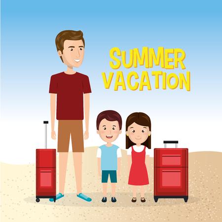 Familia en la playa para vacaciones de verano ilustración vectorial de diseño . Foto de archivo - 98030324