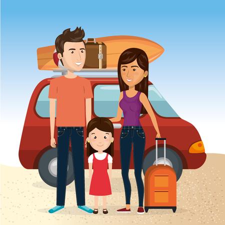 Familia en la playa con su coche para vacaciones de verano ilustración vectorial de diseño . Foto de archivo - 98030325