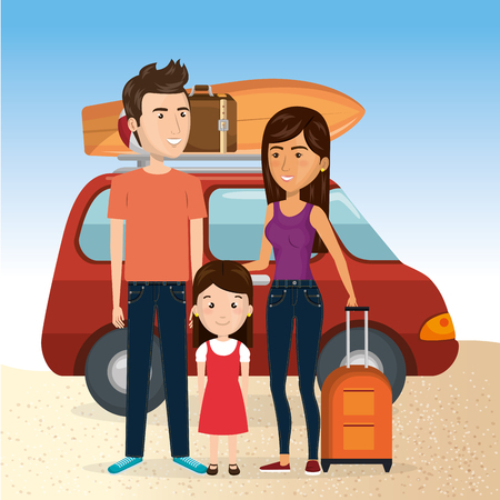 Family in the beach with their car for summer vacation vector illustration design.