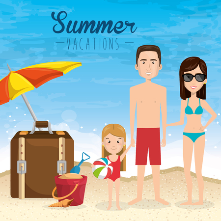 Family in the beach with big suitcase and umbrella vector illustration design.