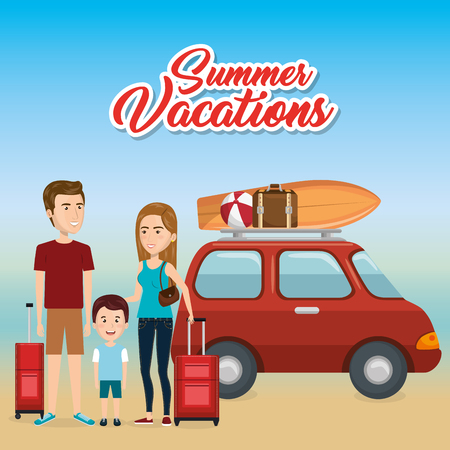 family in the beach summer vacations vector illustration design