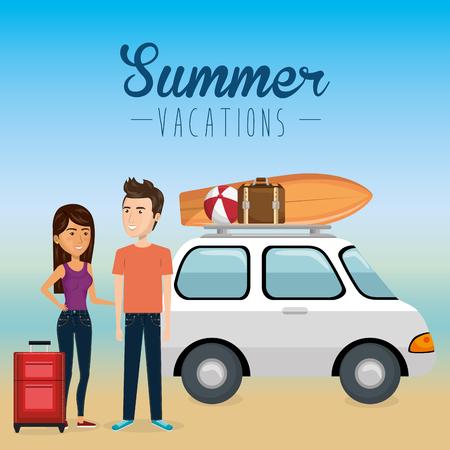 couple in the beach summer vacations vector illustration design Foto de archivo - 97893434
