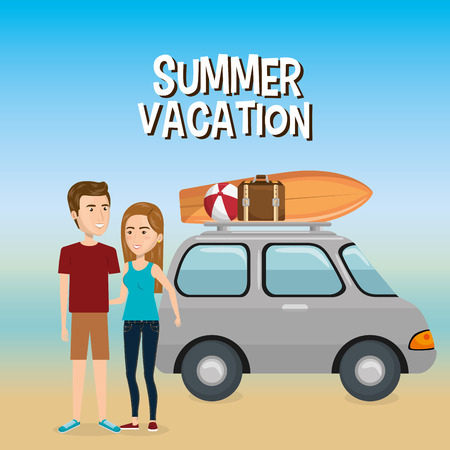 couple in the beach summer vacations vector illustration design Foto de archivo - 97893435