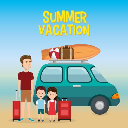 family in the beach summer vacations vector illustration design Foto de archivo - 97893455