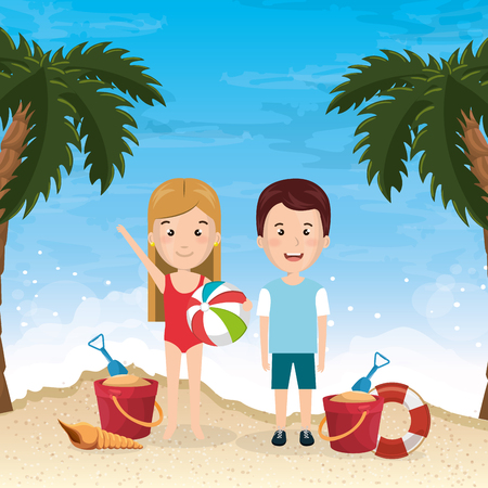 little kids in the beach summer vacations elements vector illustration design