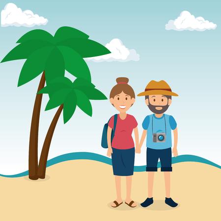 couple in the beach summer vacations vector illustration design Foto de archivo - 97893551