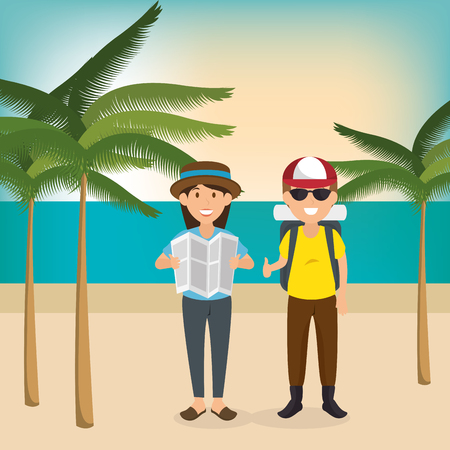 couple in the beach summer vacations vector illustration design Foto de archivo - 97893545