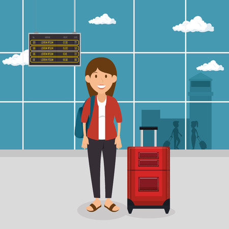 tourist woman with suitcase in the airport vector illustration design