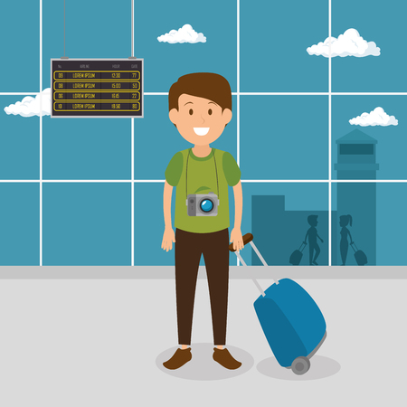 tourist man with suitcase in the airport vector illustration design