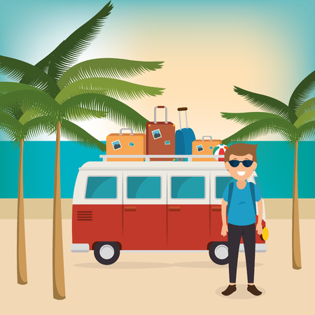 young man on the beach summer vacations vector illustration design