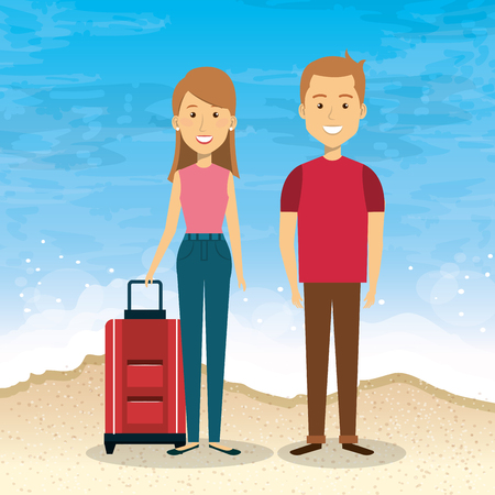 couple in the beach summer vacations vector illustration design Foto de archivo - 97894606