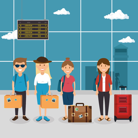 tourist people with suitcases in the airport vector illustration design