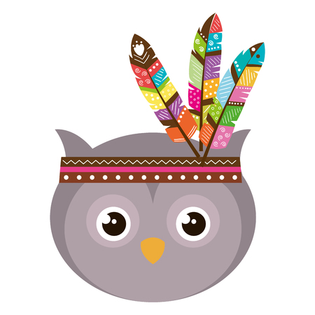 cute and tender owl with feather hat vector illustration design