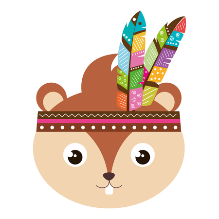 cute and tender chipmunk with feathers hat vector illustration design Foto de archivo - 97894253