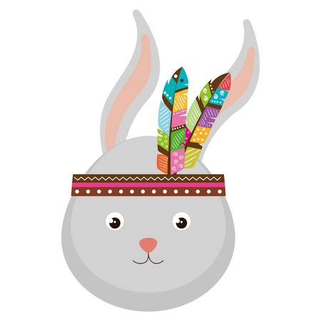 cute and tender rabbit with feather hat vector illustration design 일러스트