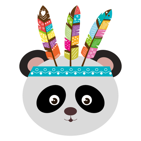 Cute And Tender Bear Panda With Feather Hat Vector Illustration