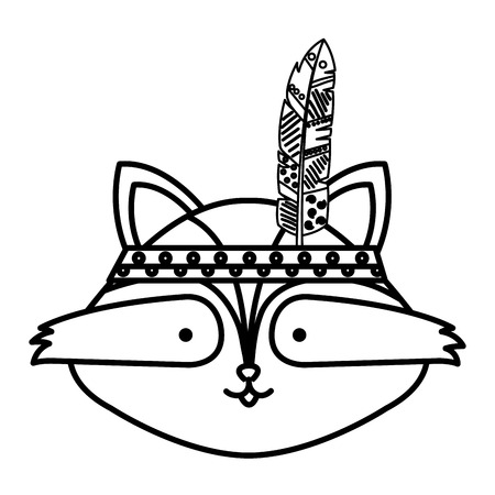 A cute raccoon with feathered hat vector illustration design Ilustrace