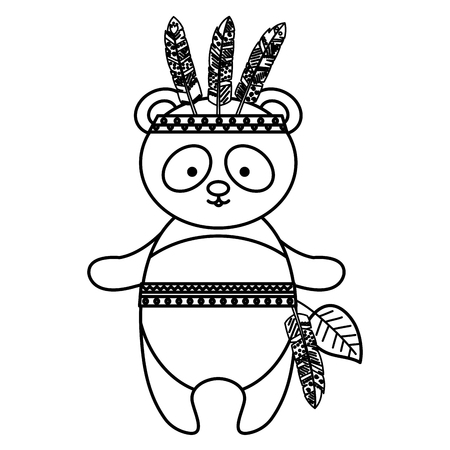 A cute panda with feathered hat vector illustration design Illustration